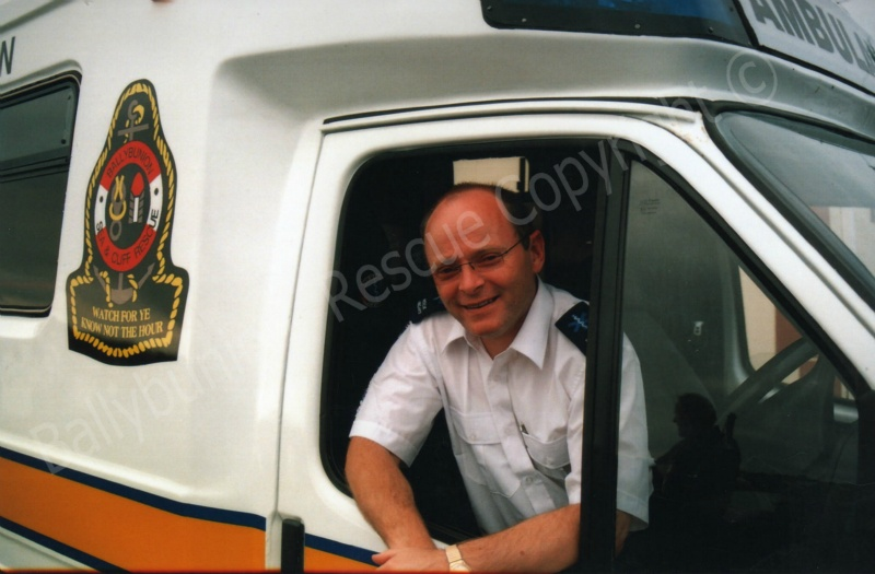 John Walsh with the old ambulance